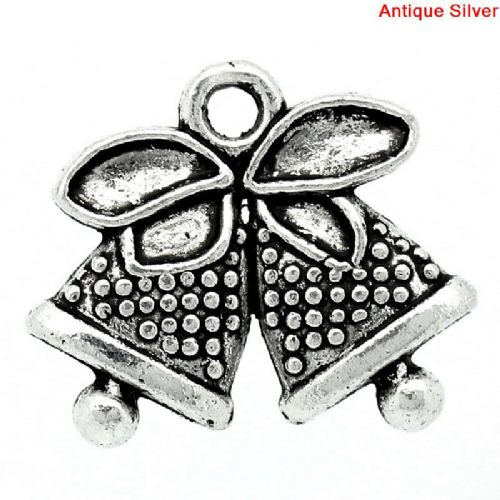 Antique Silver Colour Charms - Bells (Pack of 5)